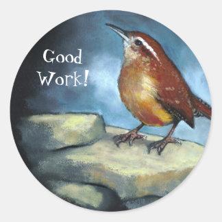 Wren in Oil Pastel: Good Work! Art Sticker