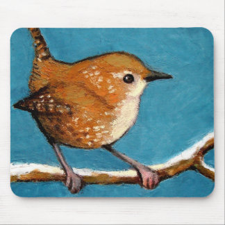 WREN IN OIL PASTEL MOUSE PAD