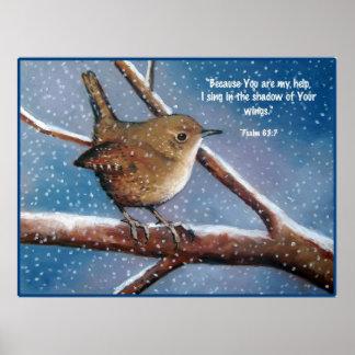 WREN IN WINTER: ART: BIBLE VERSE, PSALMS PRINT