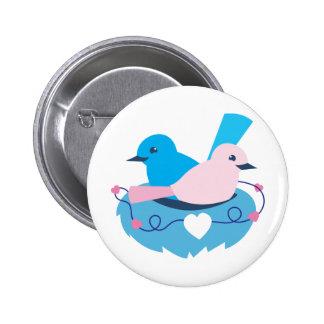wren love birds nesting button
