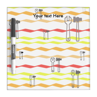 Wrench and hammer chevron pattern dry erase board