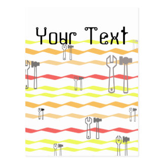 Wrench and hammer with zigzagged  lines postcard