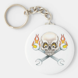 Wrench and Skull Basic Round Button Keychain