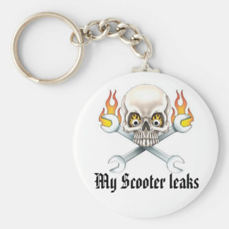 Wrench and Skull, My Scooter leaks Basic Round Button Keychain