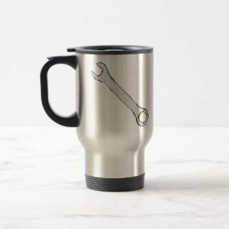 Wrench. Gray and Black. Spanner. Travel Mug