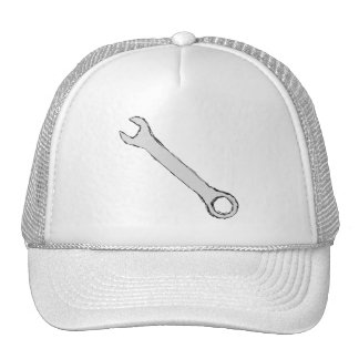Wrench. Gray and Black. Spanner. Trucker Hat