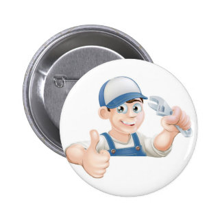 Wrench man over banner thumbs up buttons