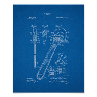 Wrench Patent - Blueprint Poster