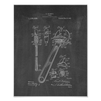 Wrench Patent - Chalkboard Poster
