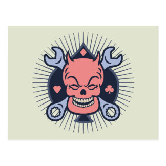 wrench-skull-spade-T Postcard