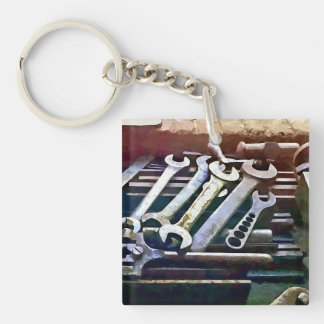 Wrenches in Machine Shop Keychain