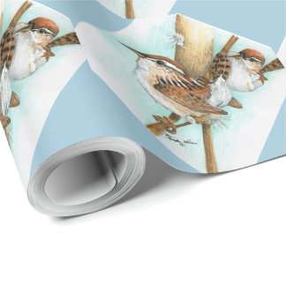 Wrens and Cat-Tail wrapping paper