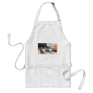Wrens Examine Wooden Doll in Snow Adult Apron