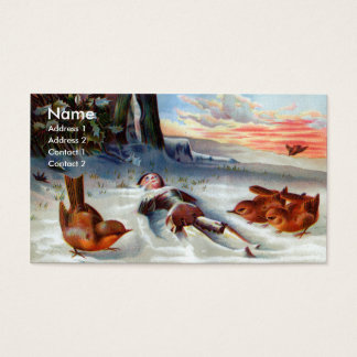 Wrens Examine Wooden Doll in Snow Business Card