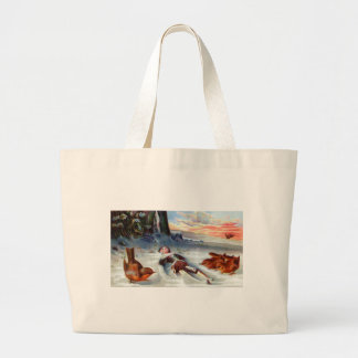 Wrens Examine Wooden Doll in Snow Jumbo Tote Bag