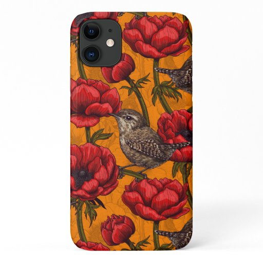 Wrens in a red anemone garden iPhone 11 case