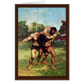 Wrestler By Courbet Gustave Greeting Card