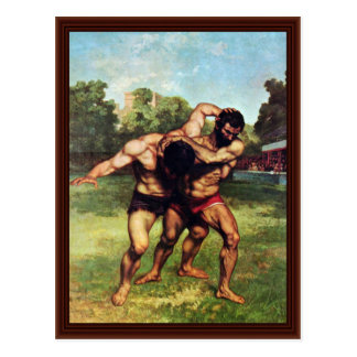 Wrestler By Courbet Gustave Postcard
