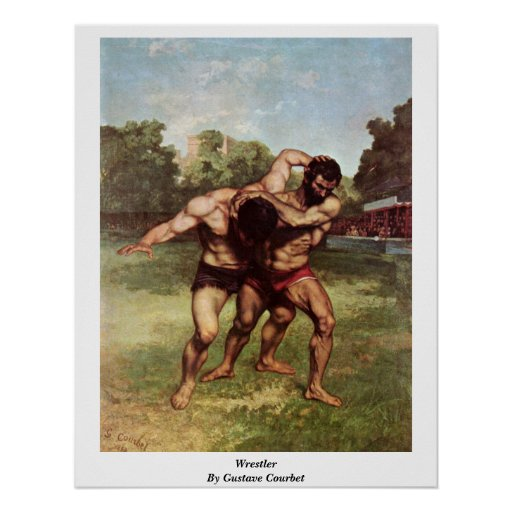 Wrestler By Gustave Courbet Poster