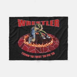 Wrestler Throw 'EM Twist 'Em Pin 'EM Fleece Blanket