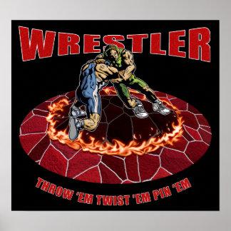 Wrestler Throw 'EM Twist 'Em Pin 'EM Poster