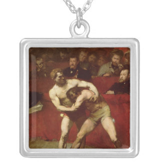 Wrestlers, 1875 silver plated necklace