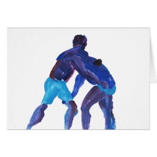Wrestlers Blue Greeting Cards