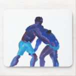 Wrestlers Blue Mouse Pads