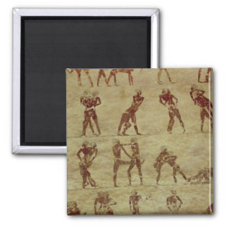 Wrestlers, detail from a tomb wall painting 2 inch square magnet
