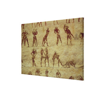 Wrestlers, detail from a tomb wall painting canvas print