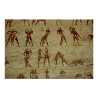 Wrestlers, detail from a tomb wall painting poster