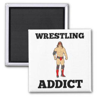 Wrestling Addict 2 Inch Square Magnet
