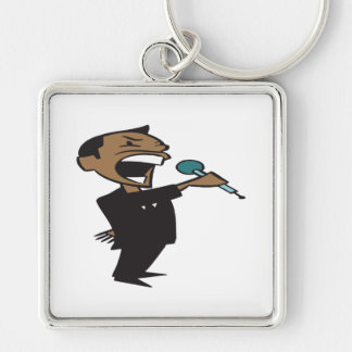 Wrestling Announcer Silver-Colored Square Keychain