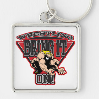 Wrestling Bring It On Silver-Colored Square Keychain