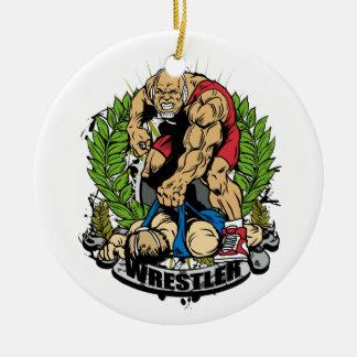 Wrestling Champ Ceramic Ornament