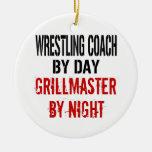 Wrestling Coach Grillmaster Christmas Ornament