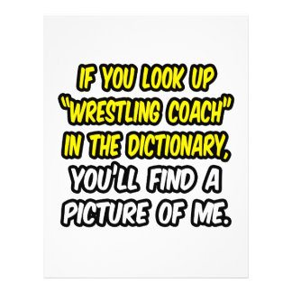 "Wrestling Coach In Dictionary...My Picture 8.5"" X 11"" Flyer"