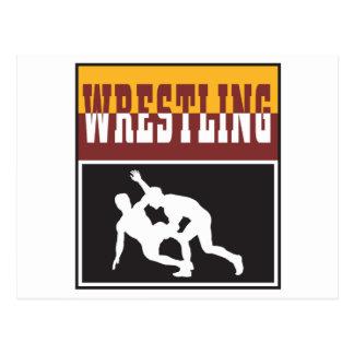 wrestling design postcard