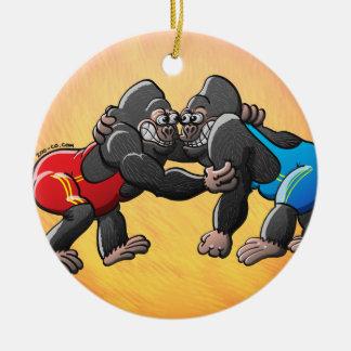 Wrestling Gorillas Ceramic Ornament