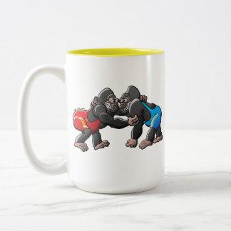 Wrestling Gorillas Two-Tone Coffee Mug