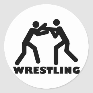 wrestling icon classic round sticker