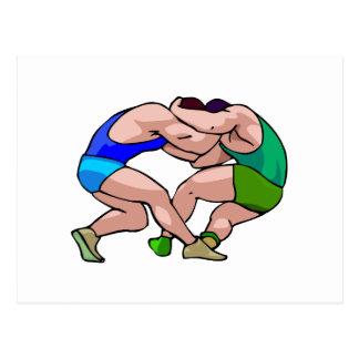 wrestling lock graphic postcard