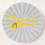 wrestling logo coaster