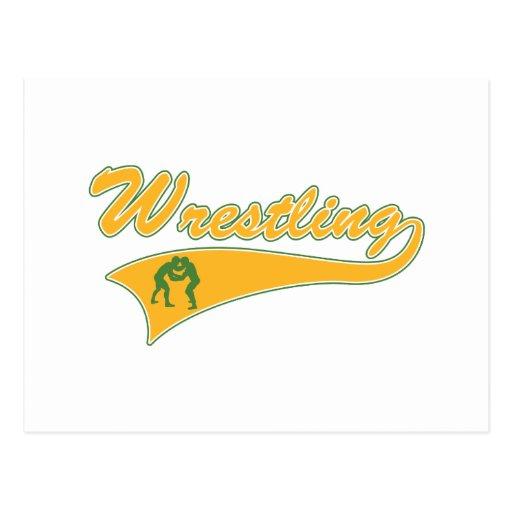 wrestling logo postcard