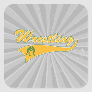 wrestling logo square sticker