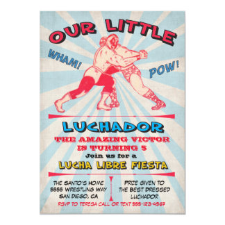 Wrestling Lucha Libre Birthday Fiesta Party Card