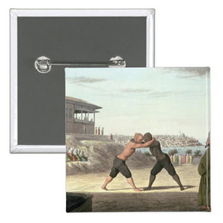 Wrestling Match, Constantinople (w/c on paper) Pinback Button