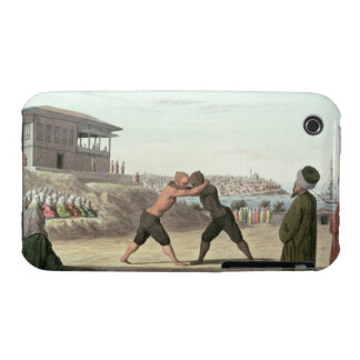 Wrestling Match, Constantinople (w/c on paper) iPhone 3 Case