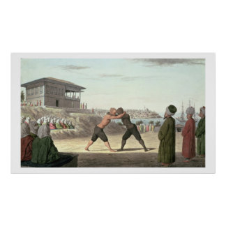 Wrestling Match, Constantinople (w/c on paper) Poster