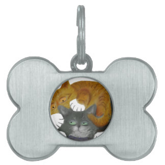 Wrestling Match with Two Cats Pet ID Tag